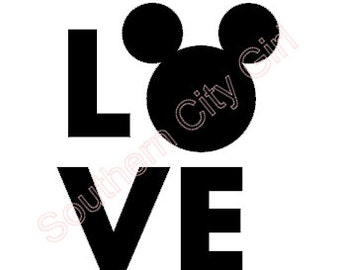 Love Mickey Head Decal- Iron on option available!