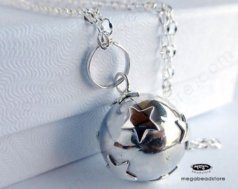 """16mm Mother Necklace Mexican Bola Chime Harmony Ball with 36"""" Chain 925 Sterling Silver P68CH67"""