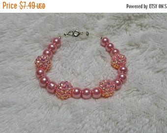 On Sale Pale Pink and Yellow Cluster Bead Clasp Bracelet Costume Jewelry Fashion Accessory