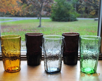 Tex Glasses Made in Decatur Texas by Herman Rosenzweig 2 Purple 1 Green 1 Gray 1 Amber Crinkle Thumbprint