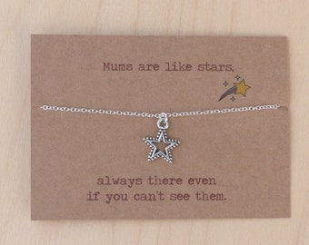Birthday gift to Mum. Special message on card. Birthday gift. Necklace with sterling silver chain. Mother's Day present