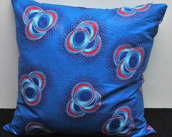 Blue Circles African Print Cushion Cover