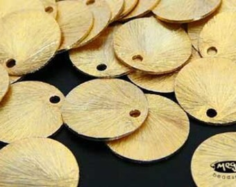 10 pcs 9mm Vermeil Gold Disc Charms Brushed Disc Top Drill Hole F163V