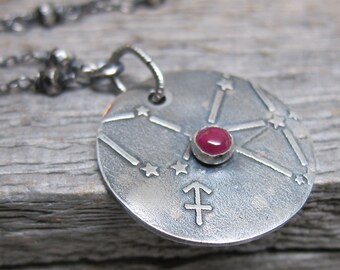 Constellation Sagittarius Necklace  ... fine silver zodiac sign star constellation with silver pyrite and ruby