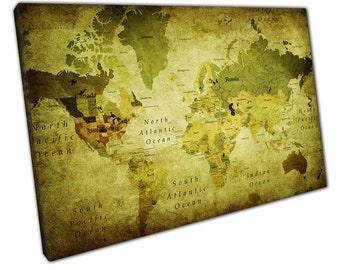 Retro Vintage Green World Map Art Ready to Hang Canvas PP354