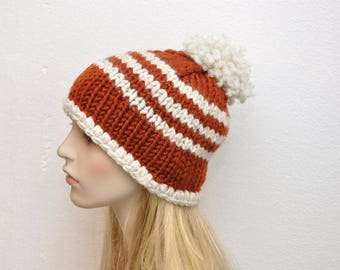 Knit Brown Hat, Woman's Knit hat, Pom Pom hat, Brown and White crochet hat, Knit Brown stripe hat, Ready to SHIP