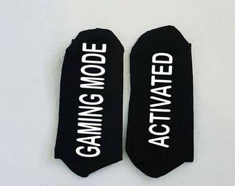Men's Gaming Socks, Gaming Mode Activated Socks for Men, Valentine Gift for Men, Men's Funny Socks, Father's Day Gift, Gamer's Gift