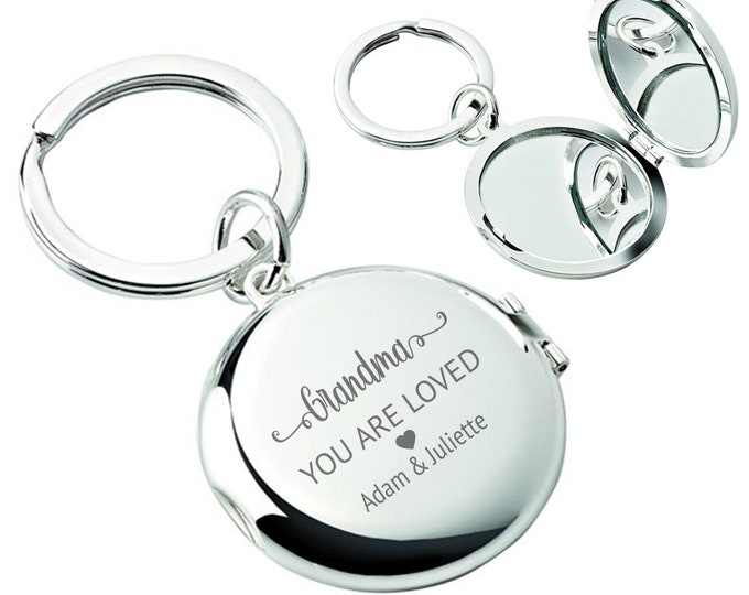 Engraved GRANDMA you are loved compact mirror keyring gift, personalised silver plated gift idea - L147-L3