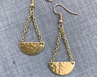Hammered Semi-circle Drop Earrings