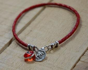 Red Leather Kabbalah Evil Eye Protection & Good Luck Bracelet