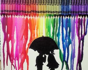 "Melted Crayon Art - Umbrella Kids - 12"" x 12"""