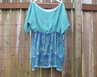 Upcycled Wide Neck Tunic Mini Dress/ Funky Eco Tree Dress XXL Plussize Women's Clothing