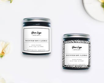 Custom Product Label, Custom Label Design, Product Packaging, Candle Label, Photoshop Template, INSTANT DOWNLOAD!