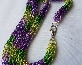 Purple and green chainmaille necklace, full persian weave