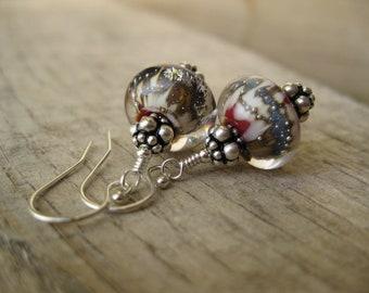 Bad Love One of a kind Boro lampwork earrings in sterling silver