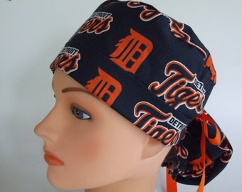 Detroit Tigers fabric Ponytail - Womens surgical scrub cap, scrub hat, Nurse surgical cap, f-4900w