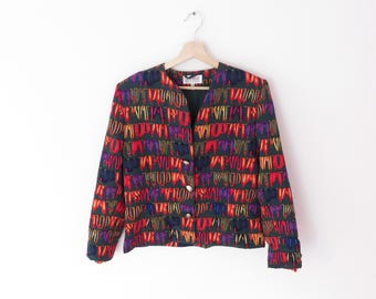Vintage Janina Schreck Multi-colour Beautiful Pattern Jacket, sz. D 38 / GB 12 / USA 8