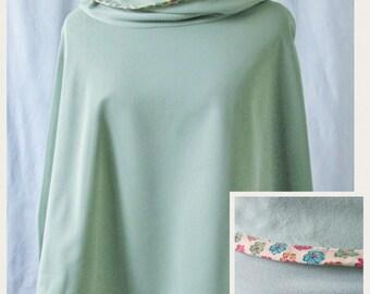 Green Poncho- Fleece Poncho- Womens Poncho- Fleece Lined Poncho- Floral Poncho- Green Fleece Poncho- Cowl Neck Poncho- Handmade Poncho