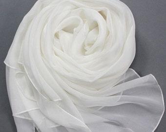 White Chiffon Scarf - Off White Chiffon Scarf 30D