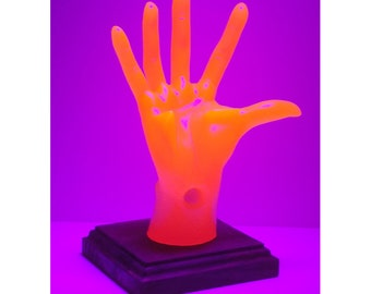 Neon Orange Female, POP-Hands, Colorful device holder for phones, tablets, business cards, etc. Customize the base color