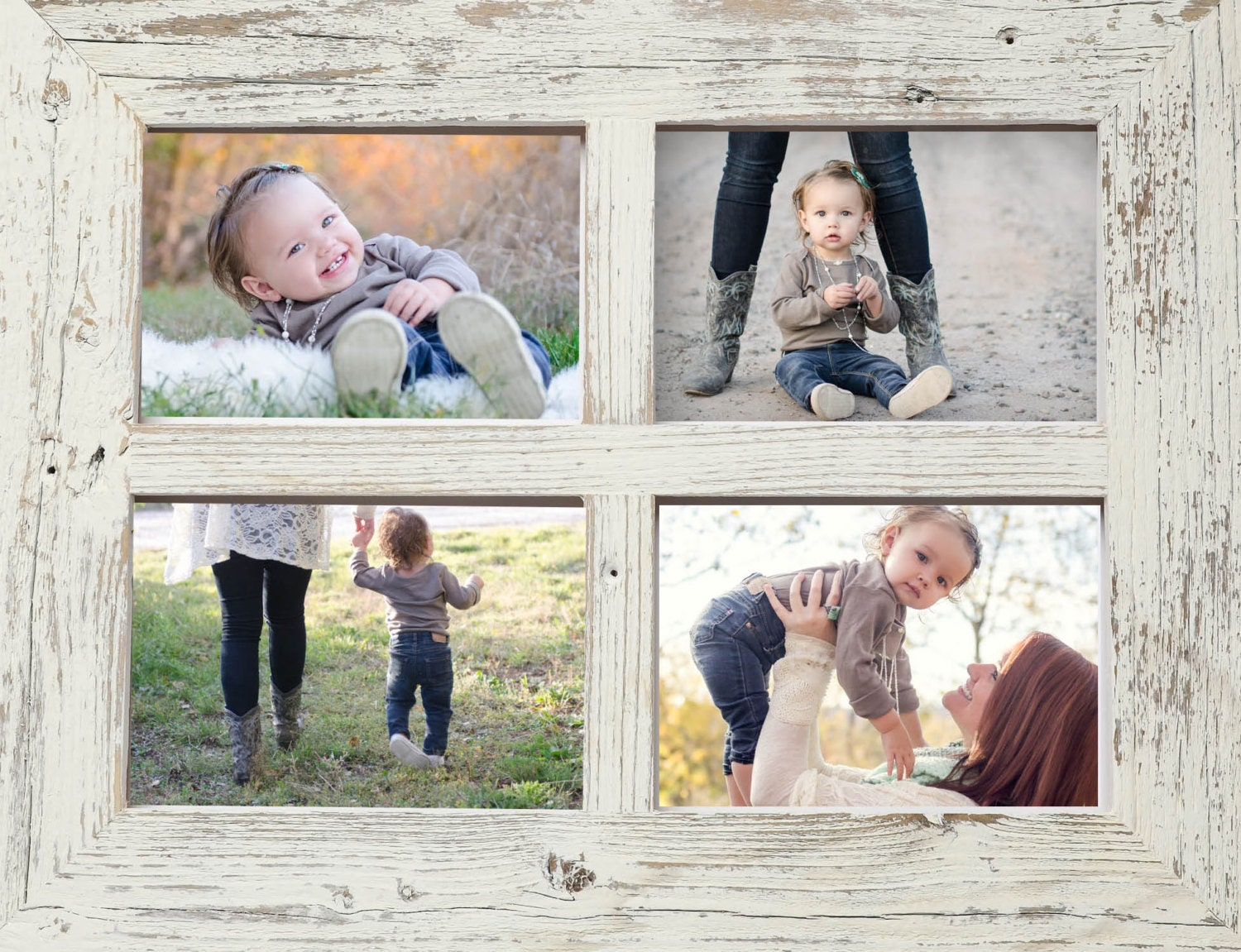 2 8x10 Barn Window Collage Picture Frame-Christmas