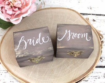 Rustic Wedding Ring Boxes, Ring Bearer Box, Set of Two, Wooden Ring Box, Wedding Gift, Bride and Groom Ring Boxes | Burlap