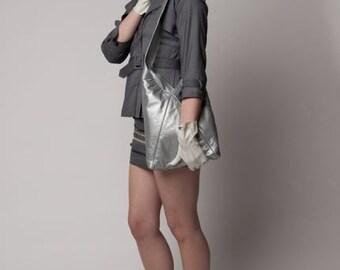 Women's silver leather triangle tote
