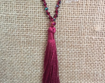 Dark Red Tassel necklace, Maroon necklace, Alabama Crimson Tide tassel necklace, Knotted Tassel necklace. Alabama, Mississippi and Texas A&M