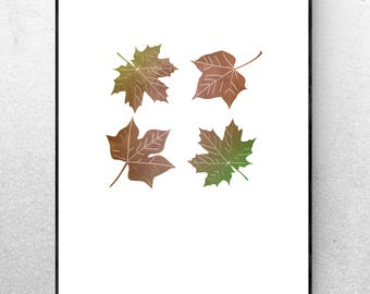 Fall Leaves Downloadable Digital Art Print - Minimalist Wall Decor