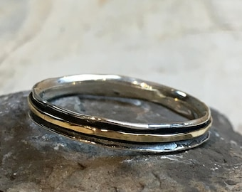 Stacking Ring, wedding band, Skinny spinner Ring, Minimal ring, Silver gold Ring, Stackable Ring, midi ring, dainty ring - Lucky Star R2462