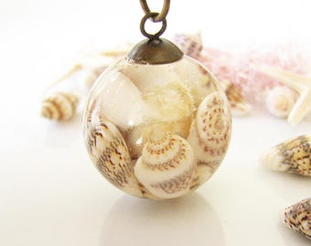 Seashell Necklace Seashell Jewelry Resin Necklace Terrarium Jewelry Gift For Her