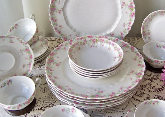 Like this item? & Antique Dinnerware Carl Tielsch Place Setting for Six Pink