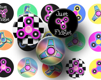 Spinner bottle cap images - Spinner digital collage sheet - Spinner 1 inch circles - Cupcake toppers - Magnets - Kids party favors