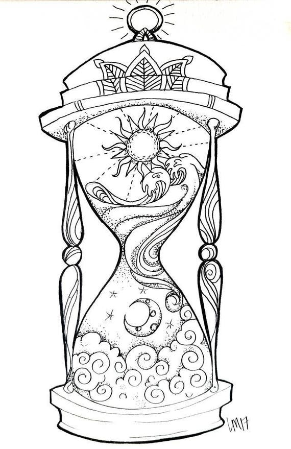 Hourglass Pen Amp Ink Art Design