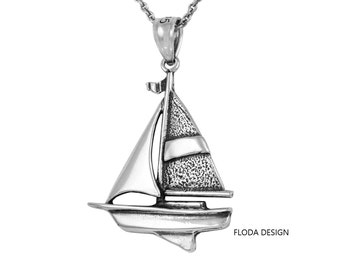 Sailboat Necklace in Sterling Silver, Nautical Jewelry FD-20-7