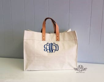 Monogram Tote Bag, Large monogrammed tote bag, beach bag, Utility Tote, womens gift, gift for her