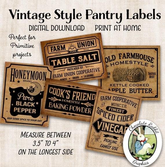 Country Pantry Labels Primitive Prim Digital Download Printable Diy