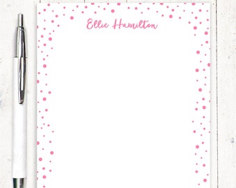 personalized notePAD - CONFETTI - stationery - stationary - polka dots paper - fun notepad paper