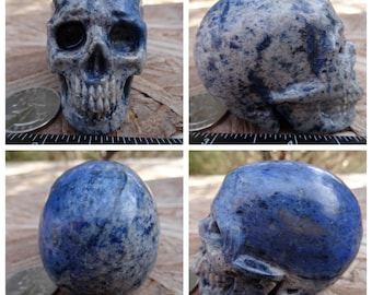 "2.43"" 6.2oz 175.7g Dumortierite Skull Realistic Crystal Healing Magick Metaphysical Mystic Reiki Wicca Large Blue 2 inch SK2775"