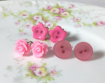 Button Stud Earring Set, Pink Daisy Stud, Pink Pearl Button Stud, Pink Rose Stud, Pretty Pink Earring Set, Surgical Steel Studs (ES1)