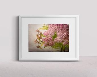 country home decor, farmhouse photo, flower farmhouse photo print, pink blossoms photo, pink flower art, pink flower photo, living room art
