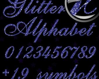 Blue Glitter Alphabet, Digital Glitter Alpha, Blue Digital Alphabet Letters, Blue Glitter Letters, Large Glitter Letters,  Design #126