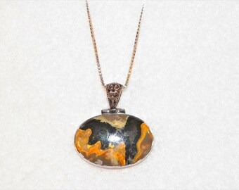 Bumble Bee Jasper Sterling Silver Pendant With 18 Inch 925 Sterling Italian Box Necklace, 925 Orange Yellow Jasper Pendant And Necklace