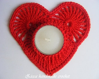 Crochet heart candle coasters, tealight holder pattern