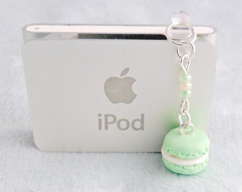 Green Macaron Dust Plug Charm, Phone Charm, For iPhone or iPod, Kitsch Tiny Green Tea Macaroon, Cute And Kawaii :D