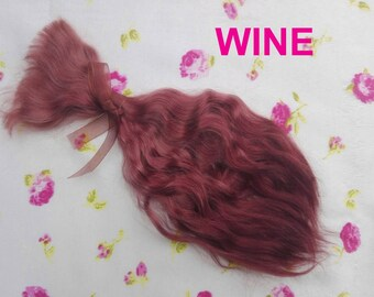 "Doll hair-9-10""-Mohair-Angora goat-Wine-Blythe-Bjd-curly wig-reroot-Reborn-Pullip-Dollfie-Msd-Monster High-Ever After High-Minifee-weft"