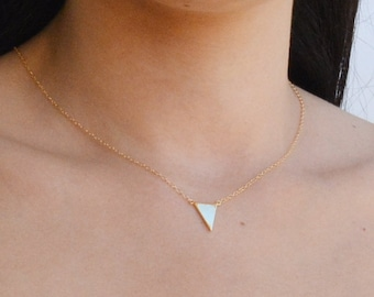 Gold Triangle necklace, Gold necklace, small gold necklace, tiny gold necklace, petite, delicate necklace,necklace delicate-536