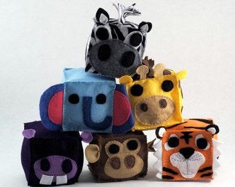 Safari Animal Plush Blocks (Set of 6)