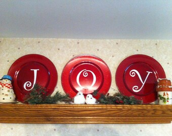 JOY vinyl decal, Christmas wall decal, diy decal for plates, front door decal, holiday window decal