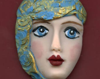 Polymer Clay One of a Kind   Detailed Face Cab with texture Un Drilled NFH 1